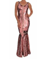 Dolce & Gabbana Crystal Sequined Sheath Gown - Roze