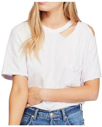 Opening Ceremony Top Purple Knit Distressed Cotton - Wit