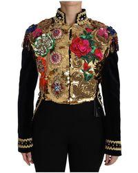 Dolce & Gabbana Velvet Crystal Sequined Jacket - Zwart