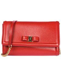 Ferragamo Women's Leather Clutch With Shoulder Strap Handbag Bag Purse Fiocco Vara - Rood