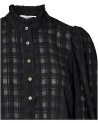 co'couture Rowland Puff Sleeve Shirt Negro