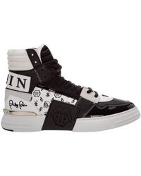 Philipp Plein High top leather trainers sneakers - Negro