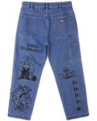 Obey Hardwork printed carpenter pants - Blu