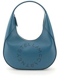 Stella McCartney Hobo Bag With Logo - Blauw