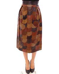 Dolce & Gabbana Patchwork Leather Straight Skirt - Bruin
