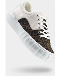 Fendi Weiße Sneakers mit Logo-Print - Braun