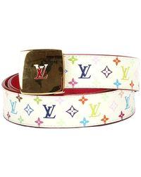 Louis Vuitton Tweedehands Monogram Multicolore Lv Cut Omkeerbare Riem - Wit