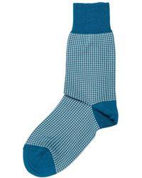 Be Soft Men's Low Socks Pied De Poule - Blauw