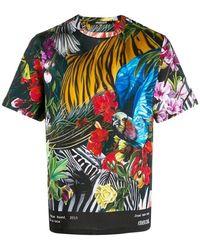Roberto Cavalli Regular Fit Paradise Foud Lap T-shirt - Zwart