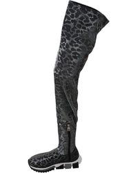 Dolce & Gabbana Leopard High Top Sneakers Booties Gris
