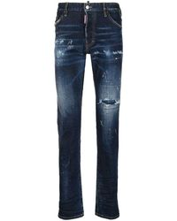 DSquared² Ripped Straight Leg Cool Guy Jeans - Blauw