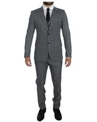 Dolce & Gabbana Wool Owl Print Slim Fit 3 Piece Suit - Blu