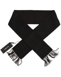 Dolce & Gabbana Wool Silk Striped Pattern Scarf - Nero
