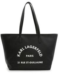 Karl Lagerfeld Borsa Tote Grande In Pelle Martellata Con Logo Rue St-guillaume - Zwart