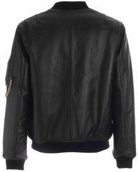 Moschino Leather Bomber Negro