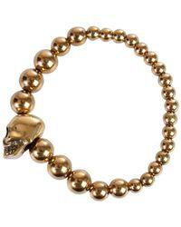 Alexander McQueen Skull Bracelet Amarillo