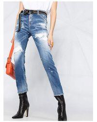 Mc2 Saint Barth Distressed Skinny Jeans Azul