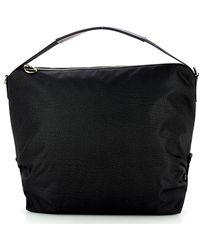 Borbonese Shoulder Hobo Bag Medium - Zwart