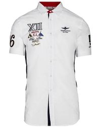 Aeronautica Militare Camicia Corta CON Patch Ca1174 - Blanc