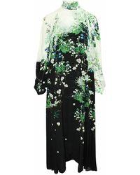 Givenchy Vintage Gebruikte Maxi-jurk Van Zijde Met Bloemenprint En Chiffon - Zwart