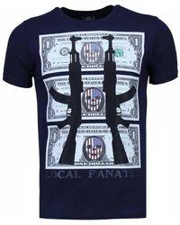 Local Fanatic Ak-47 Dollar - Rhinestone T-shirt - Blauw