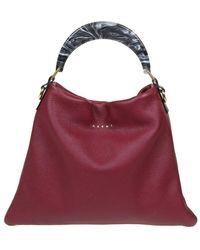 Marni Hobo bag with resin handle - Rosso