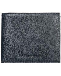 Emporio Armani Men's Wallet Leather Coin Case Holder Purse Card Bifold - Blauw