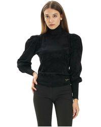 Elisabetta Franchi Chenille Turtleneck Sweater With Wide Sleeves - Zwart