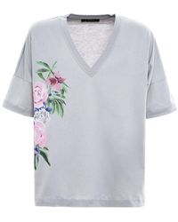Mr & Mrs Italy T-Shirt CON Stampe Floreali - Grigio
