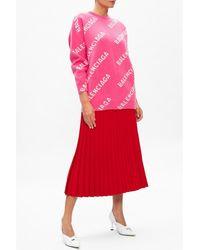 Balenciaga - Logo oversize sweater Rosa - Lyst