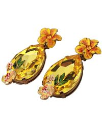 Dolce & Gabbana Kristallen Fiori Floral Clip On Bungelende Oorbellen - Geel