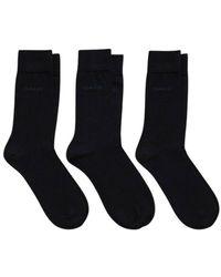 GANT 3 Pack Mercerized Cotton Socks - Bleu