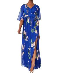 Adrianna Papell Dress Floral Pleated Split Leg - Blauw