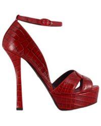 Grey Mer Austin Caiman Scarlet High Heel Platform Sandals - Rood