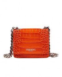Essentiel Antwerp Croc-effect mini shoulder bag - Orange