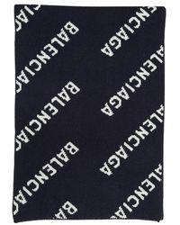 Balenciaga Intarsia-logo Scarf - Blauw