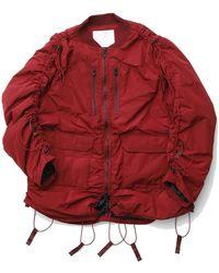 White Mountaineering Primaloft Drawstring Shirring Ma-1 - Rosso