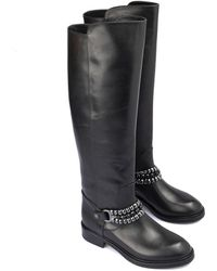 Loriblu Metal chain leather boots - Schwarz