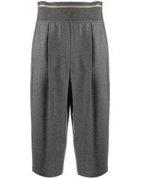 Brunello Cucinelli High-rise cropped trousers - Gris
