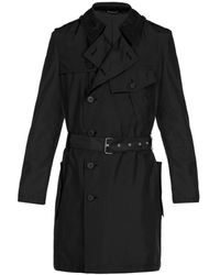 Les Hommes Light Weight Trench With Frontal Pocket - Nero