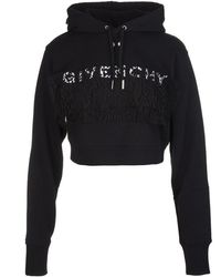 Givenchy Cropped Hoodie With Logo - Zwart