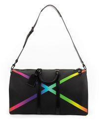 Louis Vuitton Virgil Abloh Black Taiga Rainbow X Keepall Bandouliere Negro
