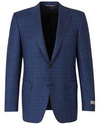 Canali Checked Wool Blazer - Blu