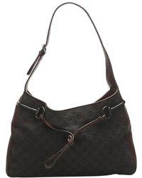 Gucci Canvas Horsebit Shoulder Bag - Bruin