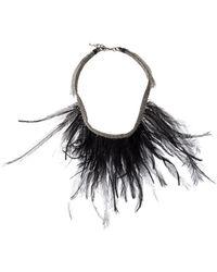 Fabiana Filippi Feather-embellished Necklace - Zwart