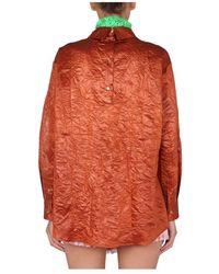 MSGM Crinckled Effect Shirt Naranja