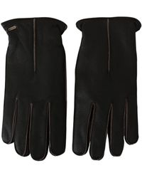 Dolce & Gabbana Leather Biker Gloves - Nero