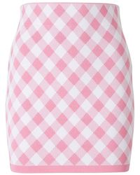 Balmain Fitted Checked Skirt - Roze