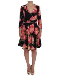 Dolce & Gabbana Tulip Print Stretch Shift Dress - Zwart