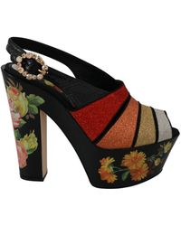 P.A.R.O.S.H. Floral Wedges Ankle Strap Sandals Shoes - Zwart